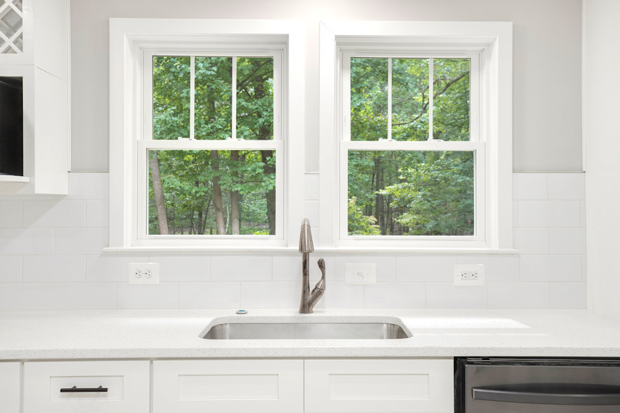 Double windows at the kitchen sink